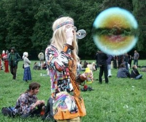 bubbles, hippies, and vintage image
