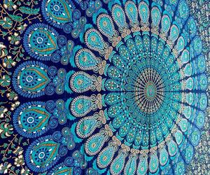 tapestry, blue, and mandala image