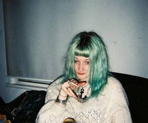 grunge, green hair, and cigarette image