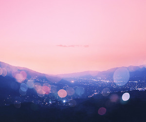 pink, blue, and landscape image