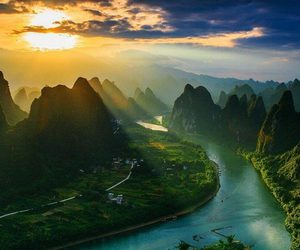 nature, river, and sunrise image