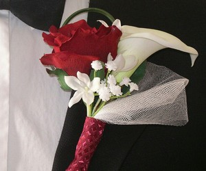 baby's breath, boutonniere, and bow tie image
