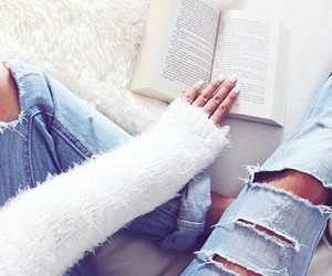 book, fashion, and jeans image