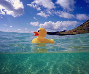 ocean, rubber duck, and sea image