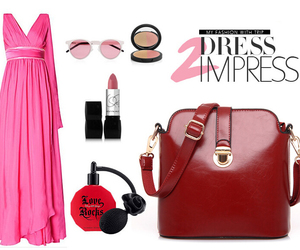 red and bag.dress.sunglass image