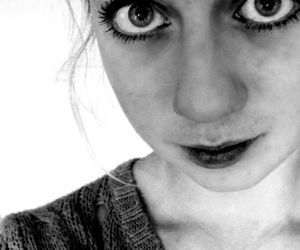 b&w, big eyes, and black and white image
