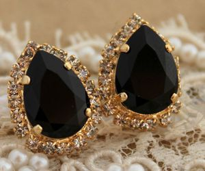 earrings, black, and gold image