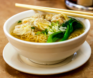 chinese food, noodles, and won ton soup image