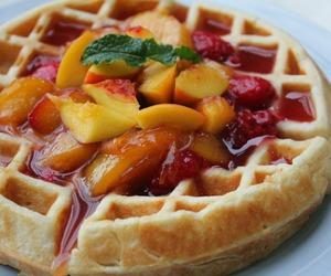 food, food porn, and waffles image