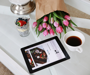flowers, coffee, and fashion image