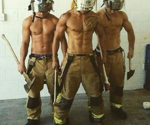 fire, boy, and muscel image