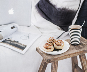 coffee, apple, and bed image