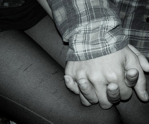 black and white, couple, and hands image