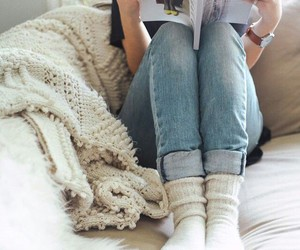cozy, book, and jeans image