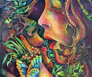 art, kiss, and nature image