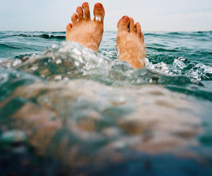 feet, water, and sea image