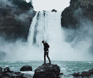 boy, nature, and waterfall image