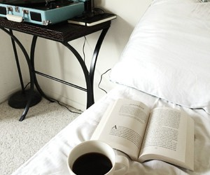 book, music, and bed image