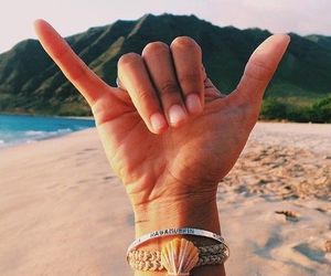 beach, summer, and hand image