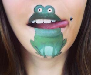 frog, lips, and art image