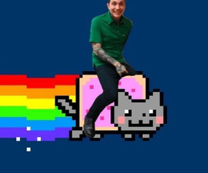 cat, rainbow, and nyan image