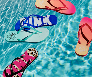 summer, pink, and flip flops image