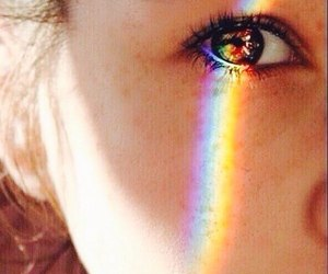 eye, girl, and rainbow image
