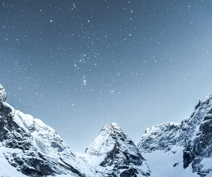 snow, mountains, and stars image