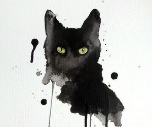 art, black, and cat image