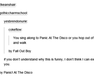 fall out boy, funny, and panic! at the disco image