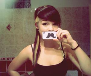crazy, girl, and mustache image