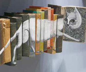 book, cat, and art image
