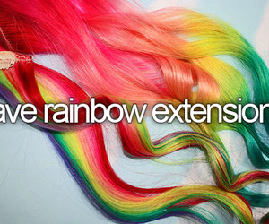 rainbow, extensions, and hair image