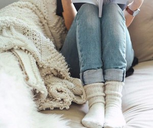 cozy, jeans, and magazine image
