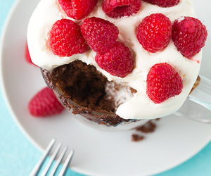 cake, nutella, and raspberry image
