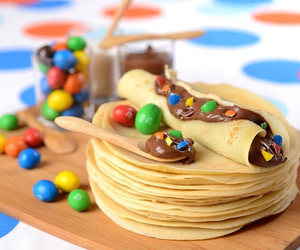 food, crepes, and m&m's image