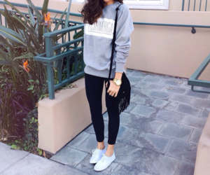 fashion, pants, and t-shirt image