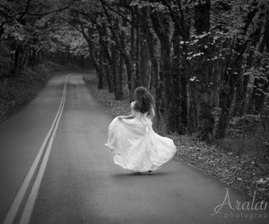 black and white, bride, and highway image