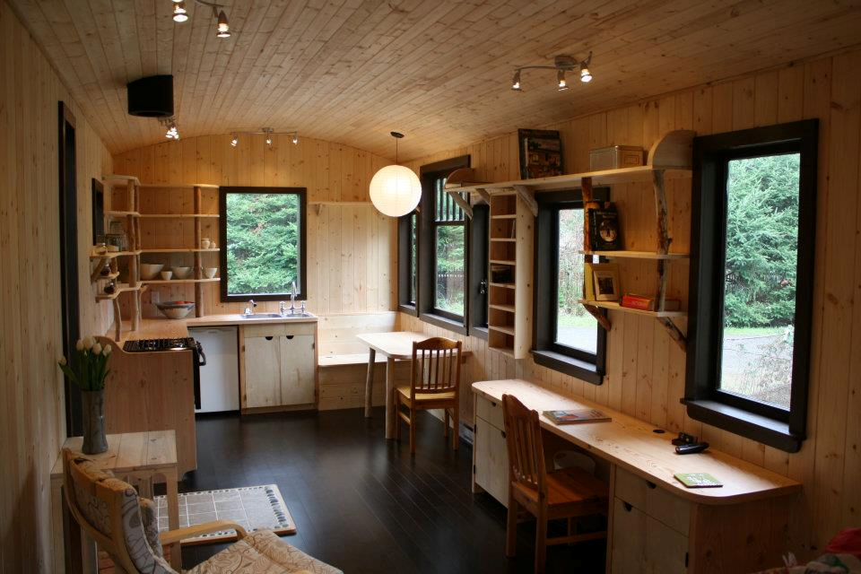Majestic Tiny House Interior With Wooden Wall Feat Wooden