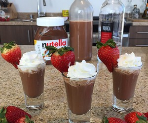 nutella, chocolate, and strawberry image