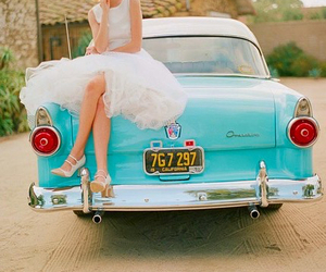 car, girl, and vintage image