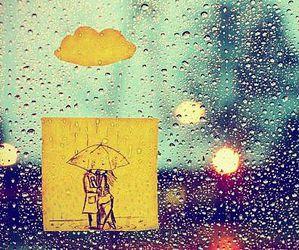 rain, couple, and umbrella image