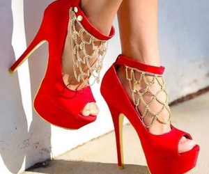 heels, red, and sexy image