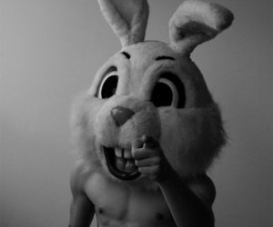 black and white, boy, and rabbit image