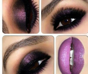 glitter purple lips eyes image