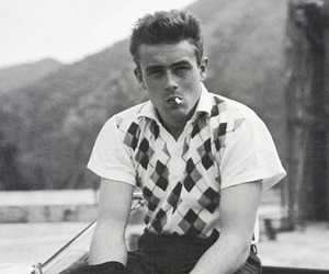 james dean, black and white, and cigarette image