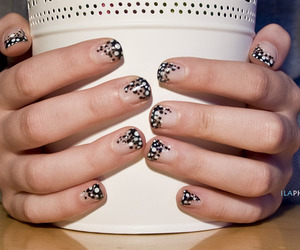 black and white, manicure, and nails image