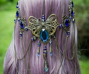 hair, gold, and jewelry image
