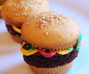 cupcake, burger, and hamburger image