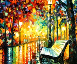 art, painting, and bench image